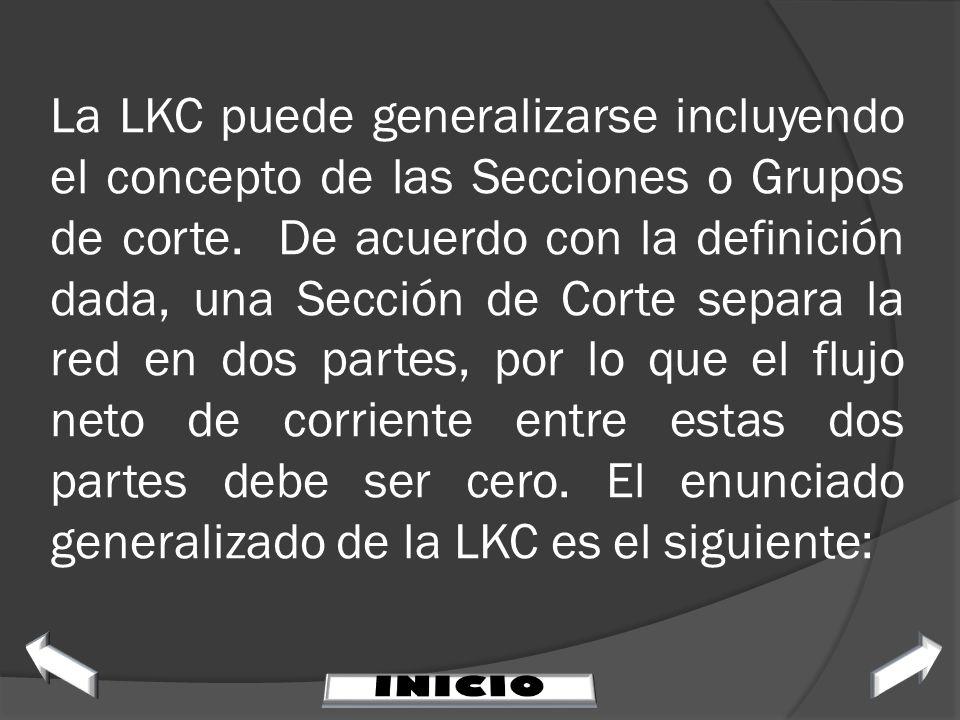 La LKC puede generalizarse incluyendo el concepto de las Secciones o Grupos de corte. De acuerdo con la definición dada, una Sección de Corte separa l