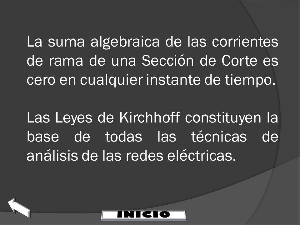 La suma algebraica de las corrientes de rama de una Sección de Corte es cero en cualquier instante de tiempo. Las Leyes de Kirchhoff constituyen la ba