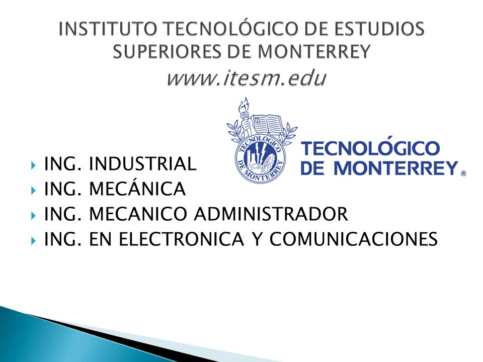ING. INDUSTRIAL ING. MECÁNICA ING. MECANICO ADMINISTRADOR ING. EN ELECTRONICA Y COMUNICACIONES