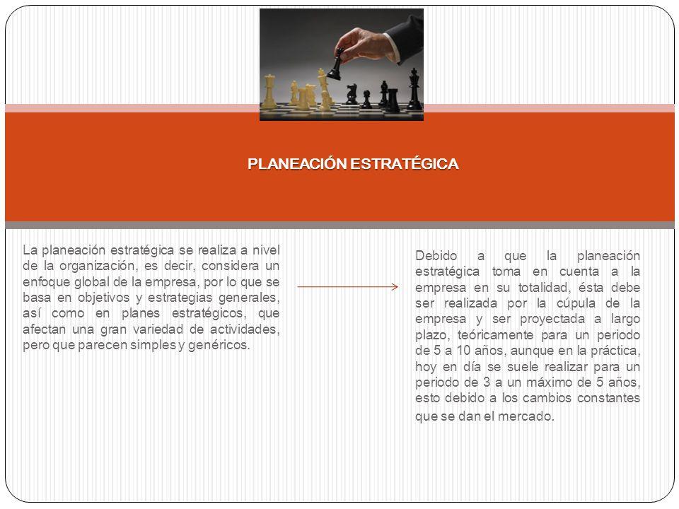 La planeación estratégica se realiza a nivel de la organización, es decir, considera un enfoque global de la empresa, por lo que se basa en objetivos