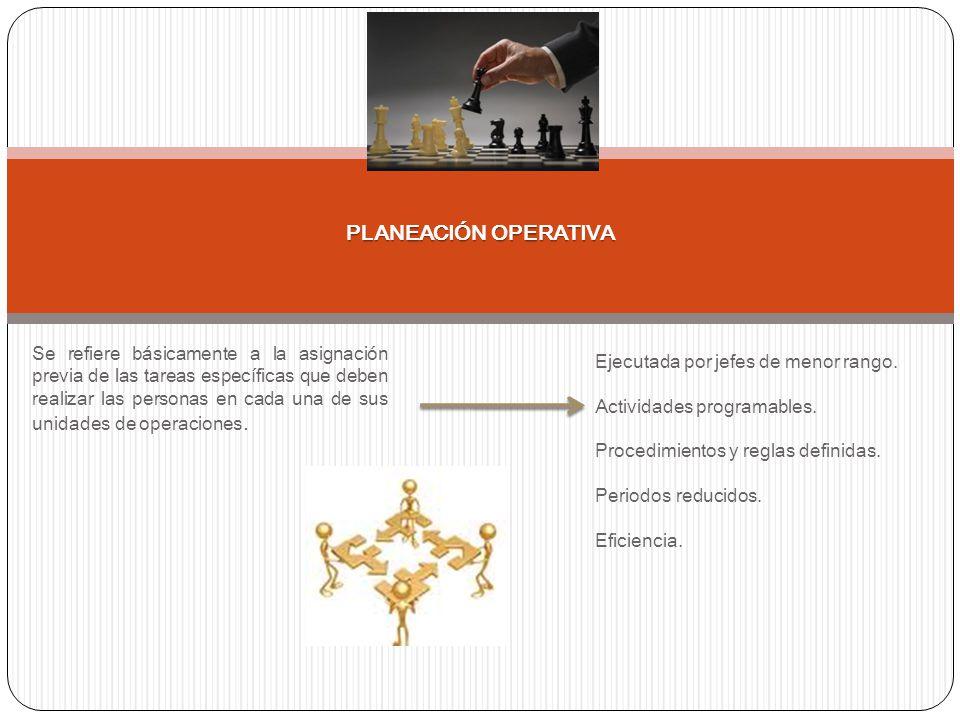 Se refiere básicamente a la asignación previa de las tareas específicas que deben realizar las personas en cada una de sus unidades de operaciones. PL