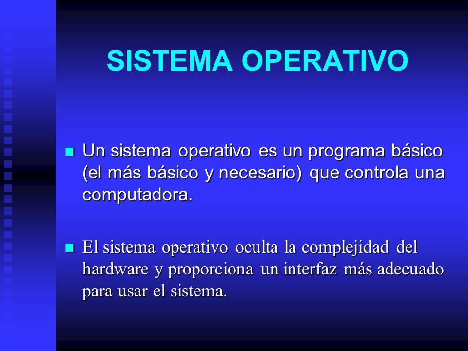 SISTEMA OPERATIVO Un sistema operativo es un programa básico (el más básico y necesario) que controla una computadora.