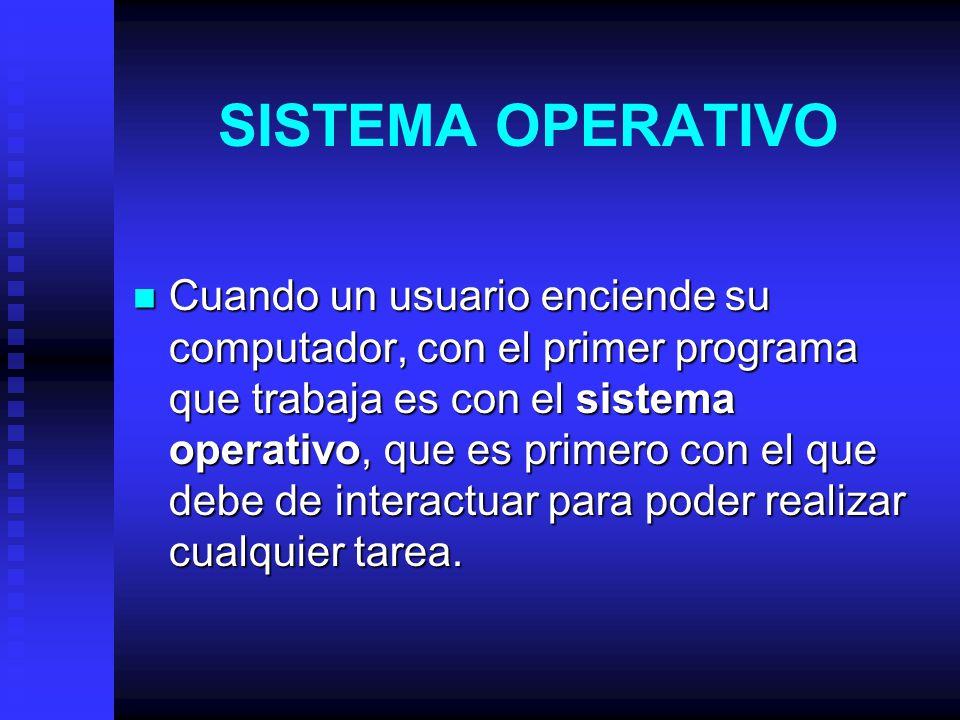 SISTEMA OPERATIVO Cuando un usuario enciende su computador, con el primer programa que trabaja es con el sistema operativo, que es primero con el que debe de interactuar para poder realizar cualquier tarea.