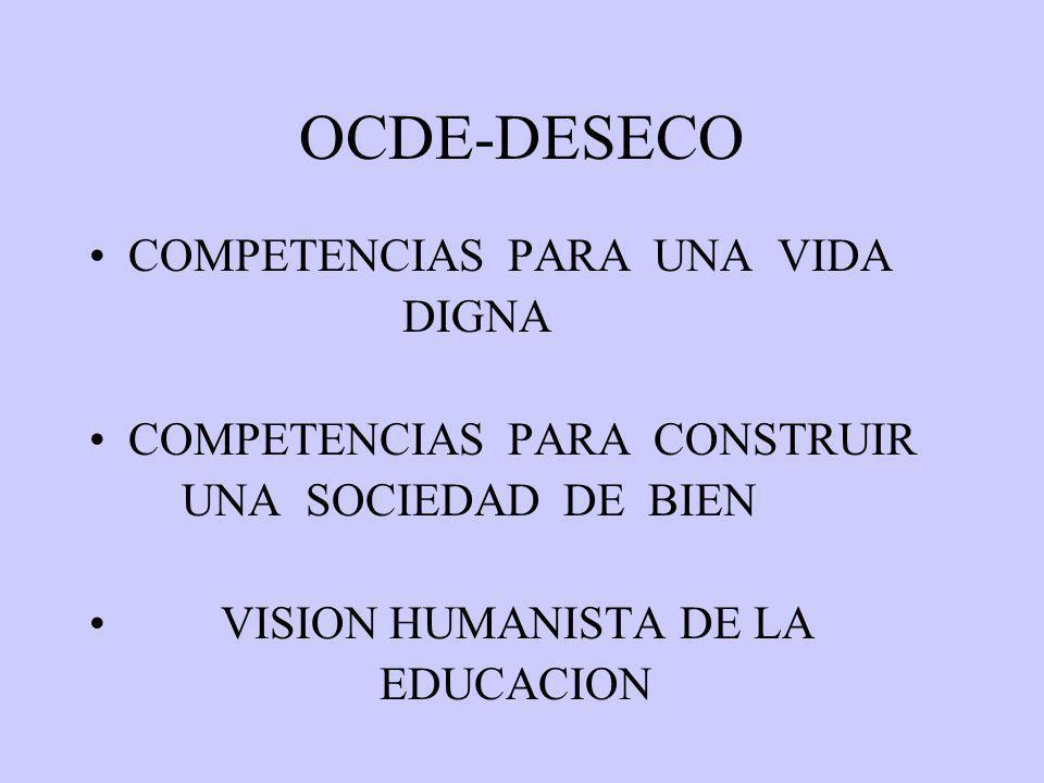 OCDE-DESECO COMPETENCIAS PARA UNA VIDA DIGNA COMPETENCIAS PARA CONSTRUIR UNA SOCIEDAD DE BIEN VISION HUMANISTA DE LA EDUCACION