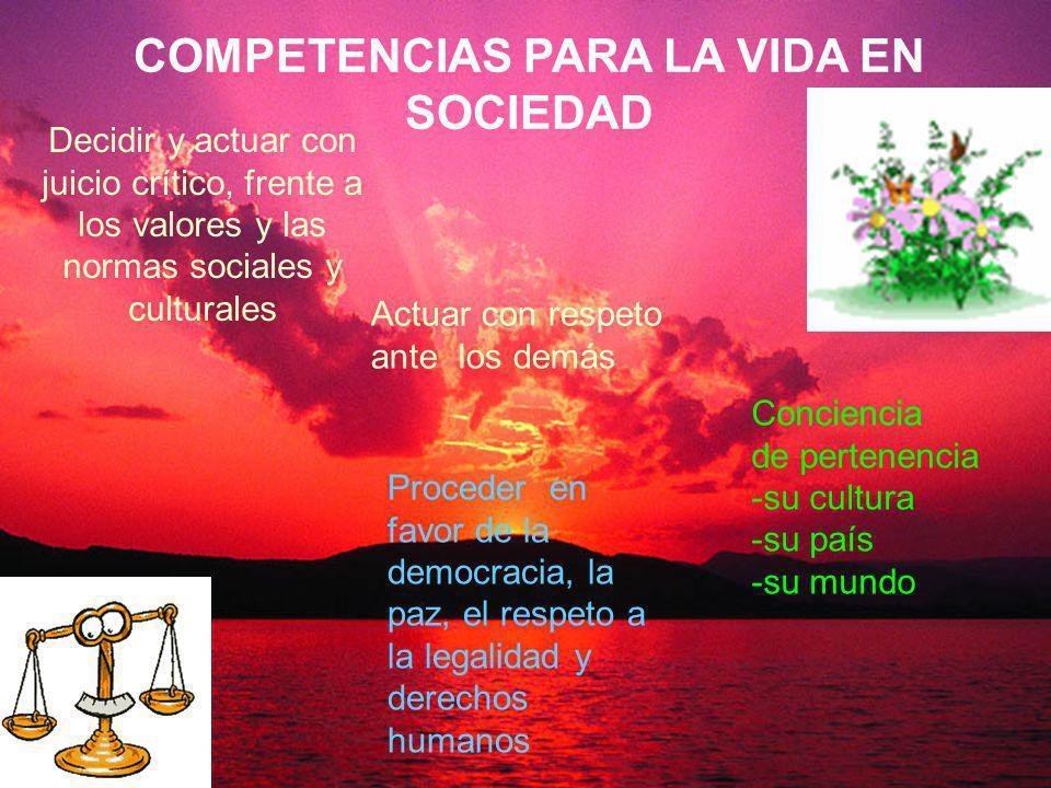 Decidir y actuar con juicio crítico, frente a los valores y las normas sociales y culturales Conciencia de pertenencia -su cultura -su país -su mundo