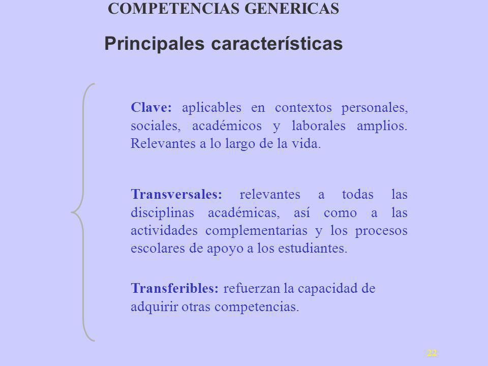 22 Clave: aplicables en contextos personales, sociales, académicos y laborales amplios. Relevantes a lo largo de la vida. Transversales: relevantes a