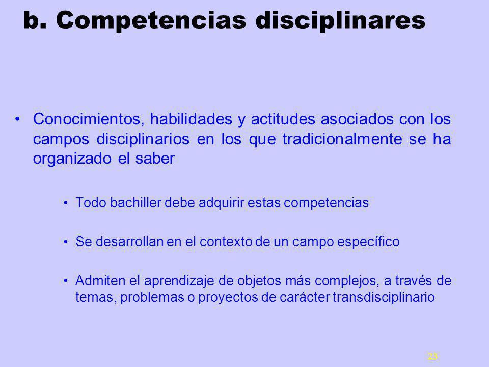 23 b. Competencias disciplinares Conocimientos, habilidades y actitudes asociados con los campos disciplinarios en los que tradicionalmente se ha orga