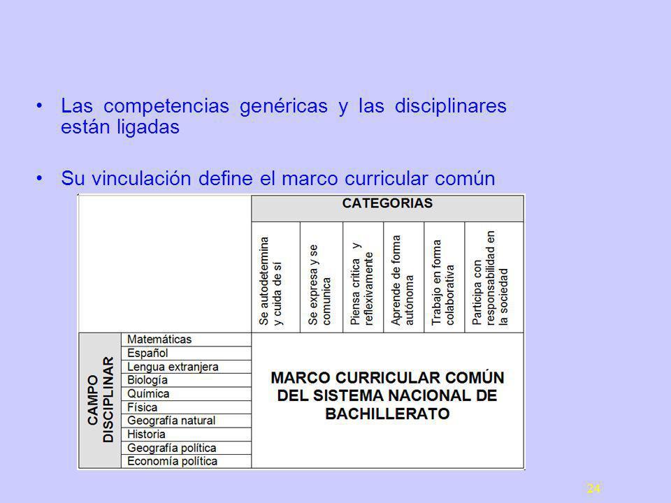 24 Las competencias genéricas y las disciplinares están ligadas Su vinculación define el marco curricular común