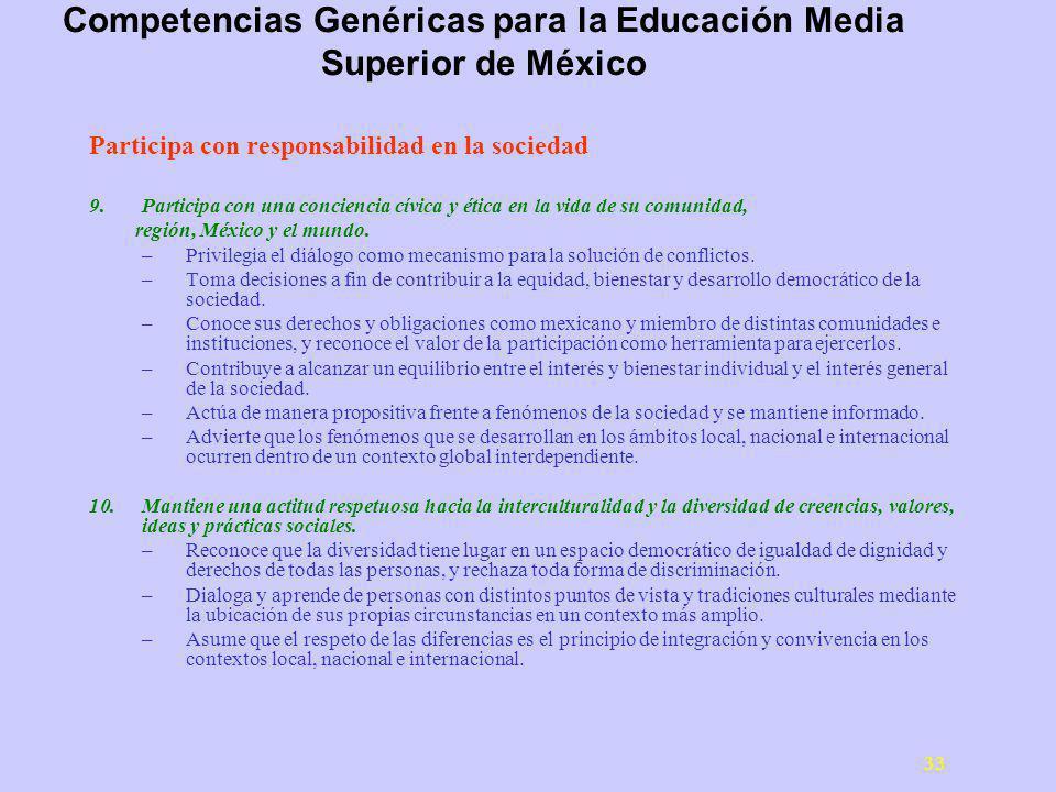 33 Participa con responsabilidad en la sociedad 9.Participa con una conciencia cívica y ética en la vida de su comunidad, región, México y el mundo.