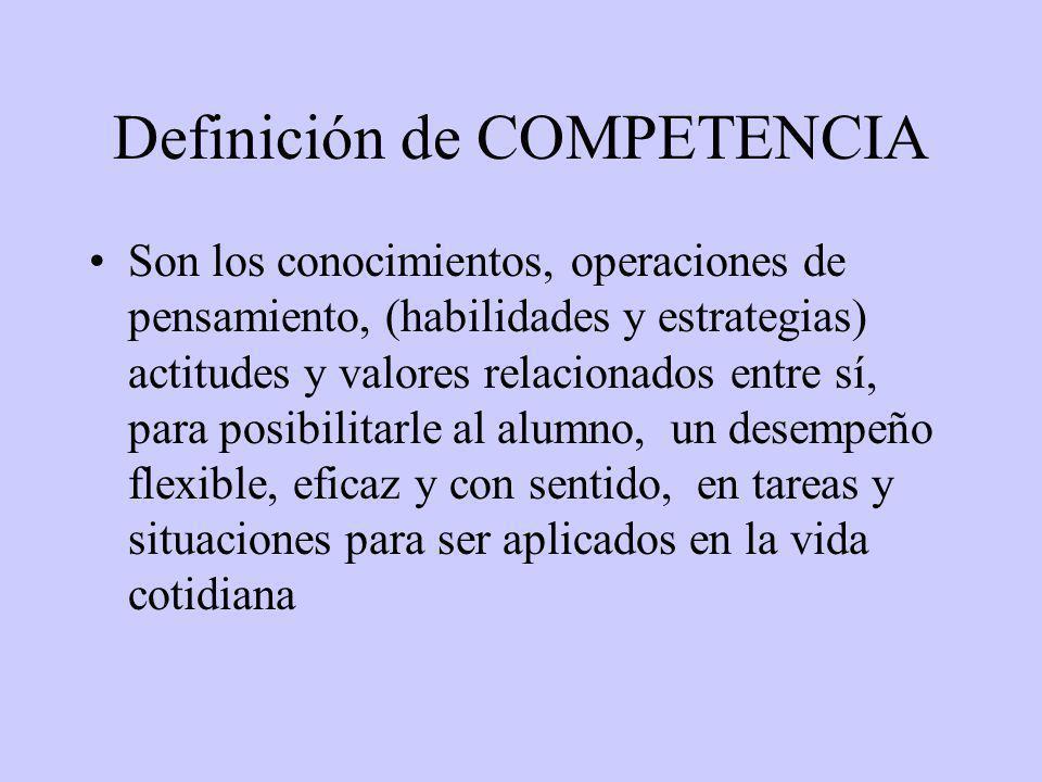 Definición de COMPETENCIA Son los conocimientos, operaciones de pensamiento, (habilidades y estrategias) actitudes y valores relacionados entre sí, para posibilitarle al alumno, un desempeño flexible, eficaz y con sentido, en tareas y situaciones para ser aplicados en la vida cotidiana