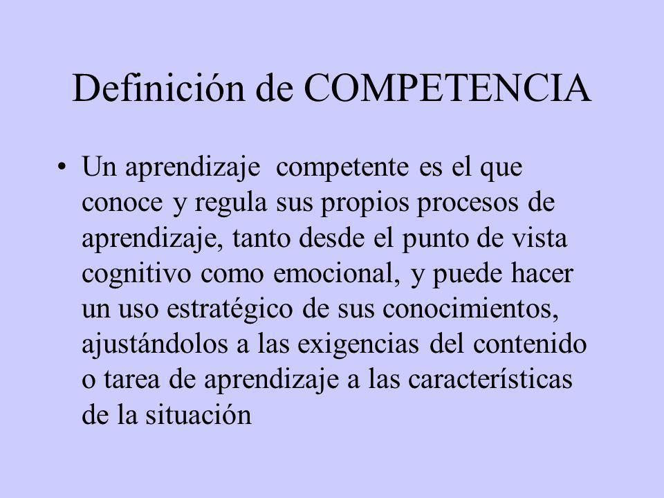 Definición de COMPETENCIA Un aprendizaje competente es el que conoce y regula sus propios procesos de aprendizaje, tanto desde el punto de vista cognitivo como emocional, y puede hacer un uso estratégico de sus conocimientos, ajustándolos a las exigencias del contenido o tarea de aprendizaje a las características de la situación