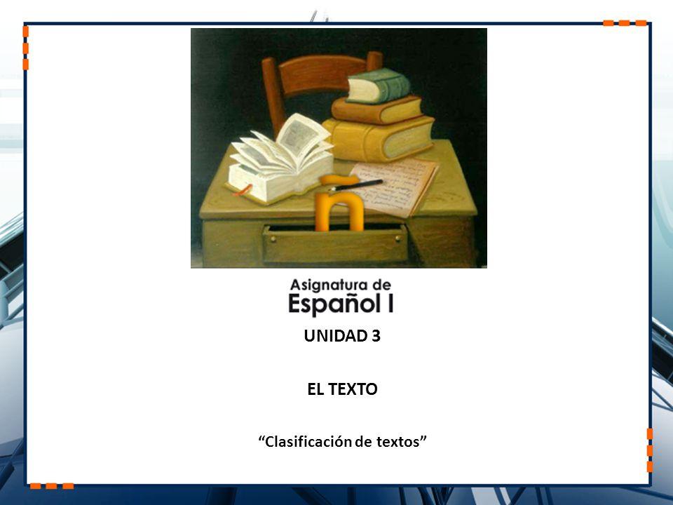UNIDAD 3 EL TEXTO Clasificación de textos
