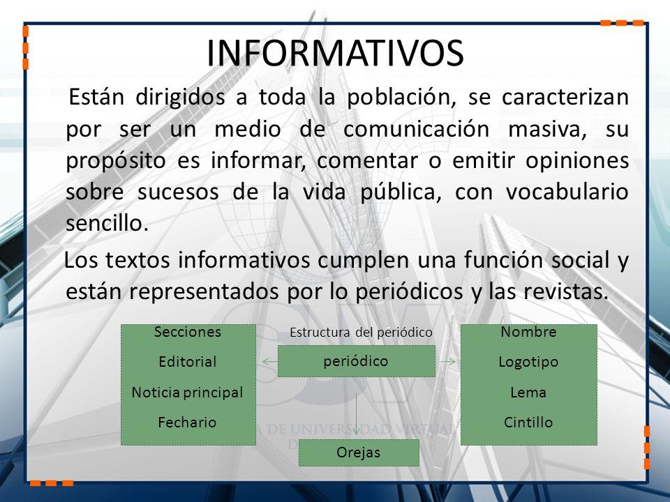 INFORMATIVOS Están dirigidos a toda la población, se caracterizan por ser un medio de comunicación masiva, su propósito es informar, comentar o emitir