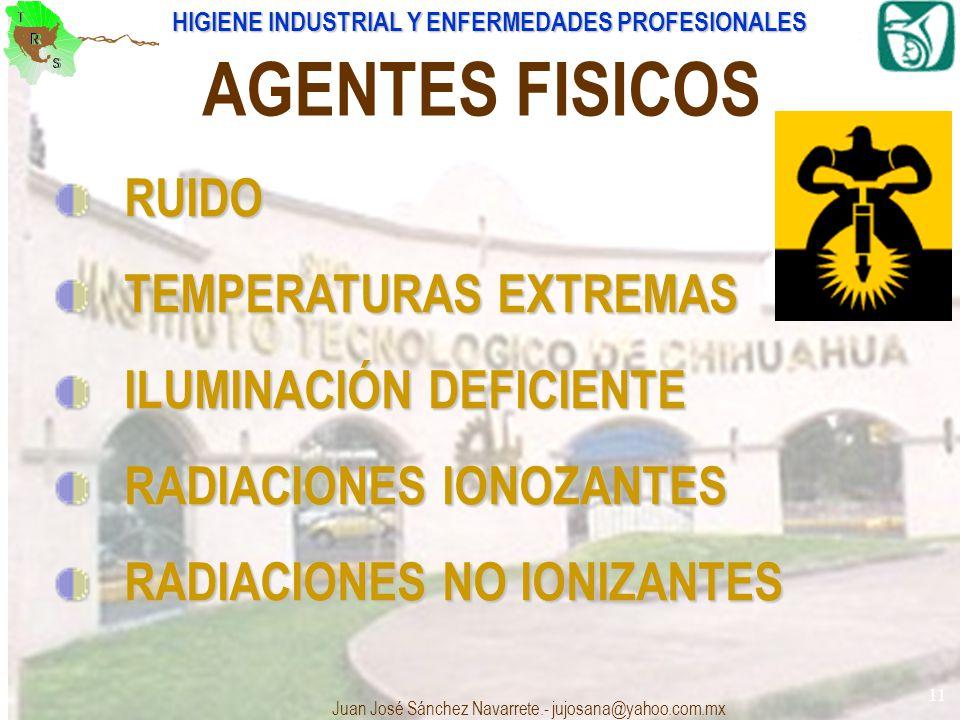 HIGIENE INDUSTRIAL Y ENFERMEDADES PROFESIONALES Juan José Sánchez Navarrete.- jujosana@yahoo.com.mx 11 AGENTES FISICOS RUIDO RUIDO TEMPERATURAS EXTREM