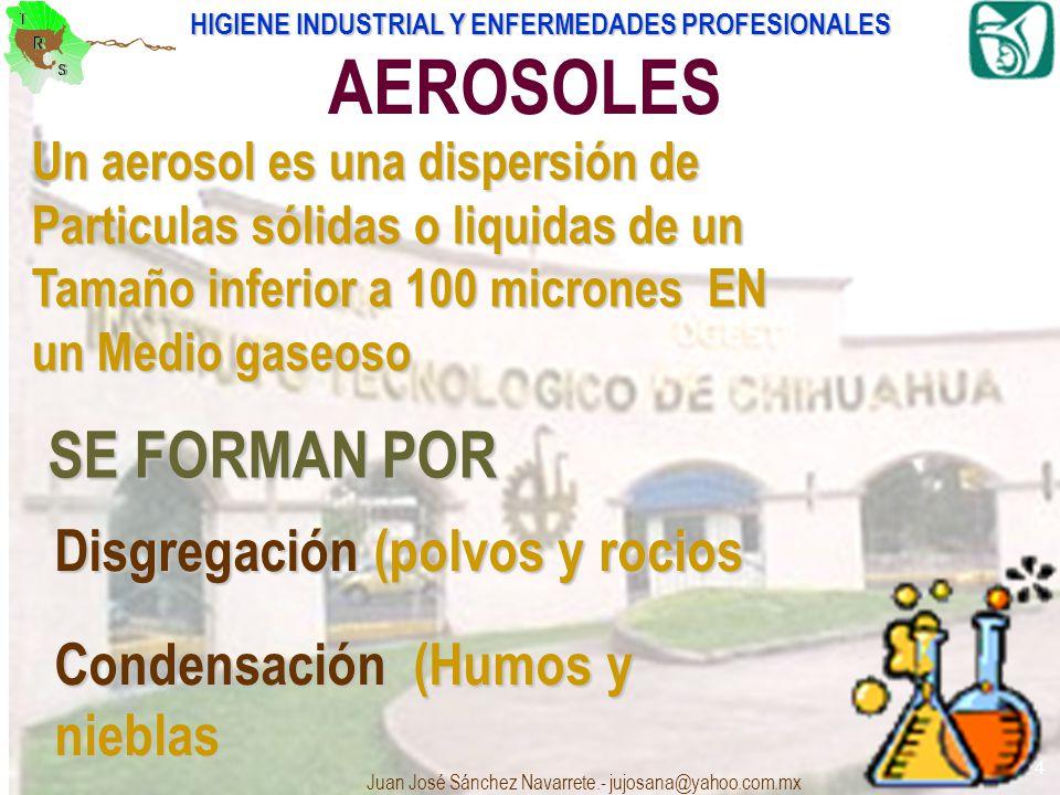 HIGIENE INDUSTRIAL Y ENFERMEDADES PROFESIONALES Juan José Sánchez Navarrete.- jujosana@yahoo.com.mx 14 AEROSOLES Un aerosol es una dispersión de Parti
