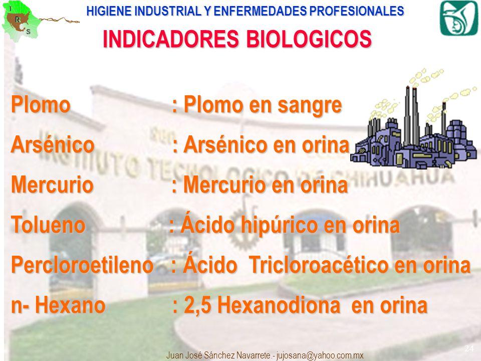 HIGIENE INDUSTRIAL Y ENFERMEDADES PROFESIONALES Juan José Sánchez Navarrete.- jujosana@yahoo.com.mx 24 INDICADORES BIOLOGICOS Plomo : Plomo en sangre