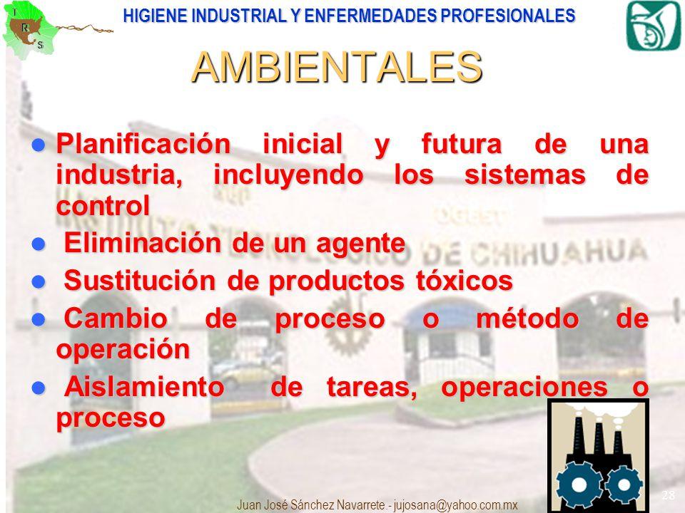 HIGIENE INDUSTRIAL Y ENFERMEDADES PROFESIONALES Juan José Sánchez Navarrete.- jujosana@yahoo.com.mx 28 AMBIENTALES Planificación inicial y futura de u