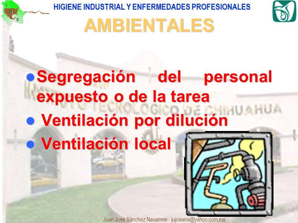 HIGIENE INDUSTRIAL Y ENFERMEDADES PROFESIONALES Juan José Sánchez Navarrete.- jujosana@yahoo.com.mx 29 AMBIENTALES Segregación del personal expuesto o