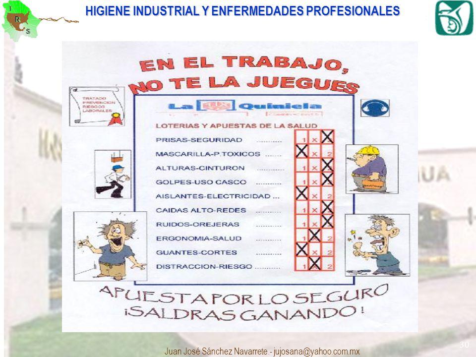 HIGIENE INDUSTRIAL Y ENFERMEDADES PROFESIONALES Juan José Sánchez Navarrete.- jujosana@yahoo.com.mx 30