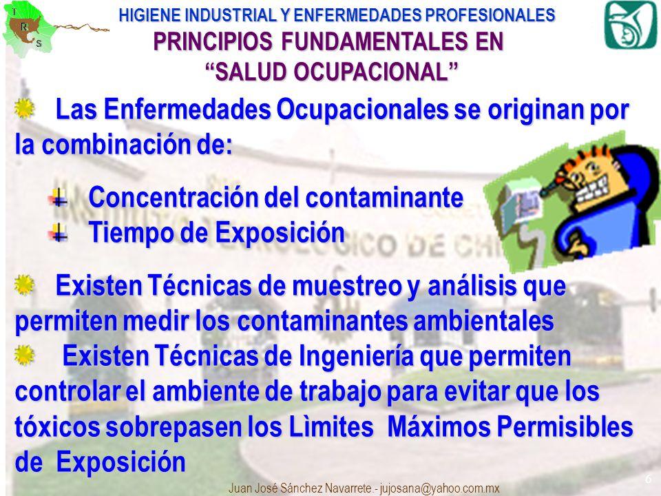HIGIENE INDUSTRIAL Y ENFERMEDADES PROFESIONALES Juan José Sánchez Navarrete.- jujosana@yahoo.com.mx 6 Las Enfermedades Ocupacionales se originan por l