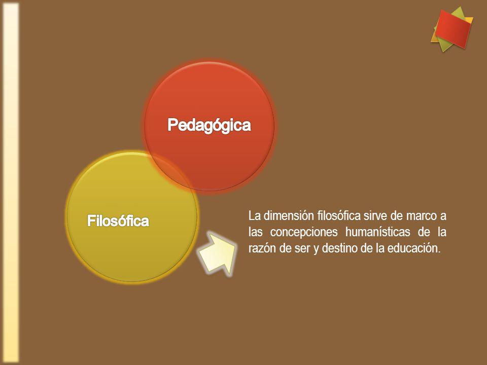 La dimensión filosófica sirve de marco a las concepciones humanísticas de la razón de ser y destino de la educación.