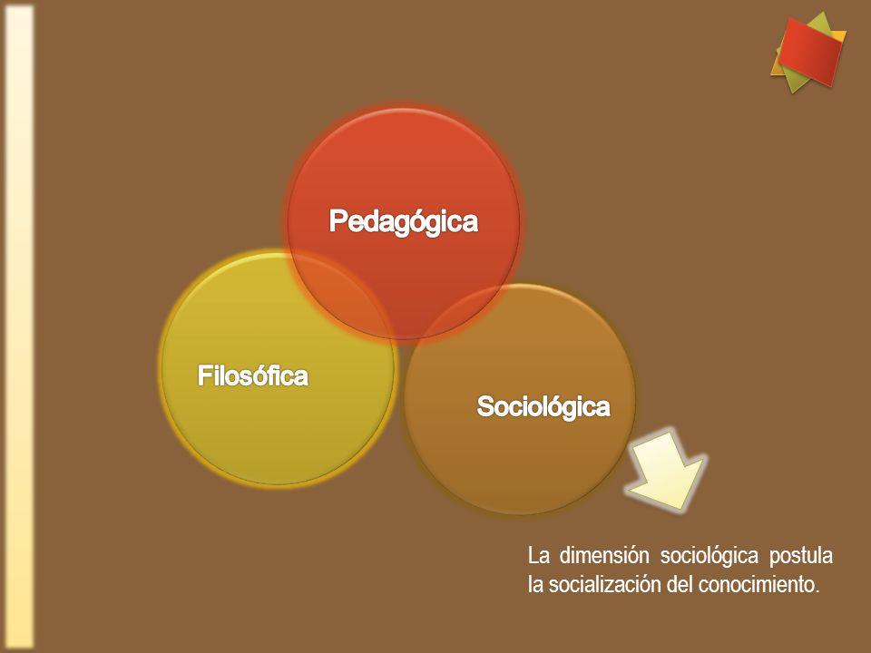 La dimensión sociológica postula la socialización del conocimiento.