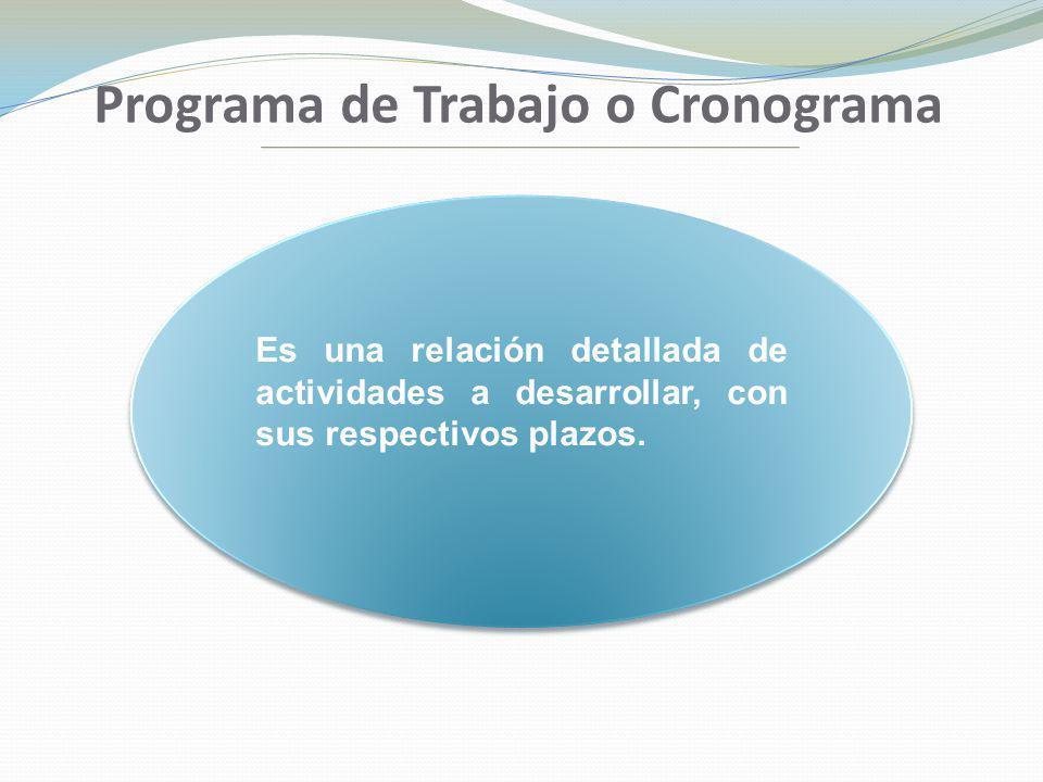 Programa de Trabajo o Cronograma Es una relación detallada de actividades a desarrollar, con sus respectivos plazos.
