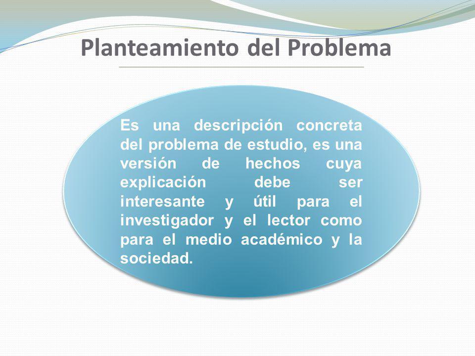 Planteamiento del Problema Es una descripción concreta del problema de estudio, es una versión de hechos cuya explicación debe ser interesante y útil
