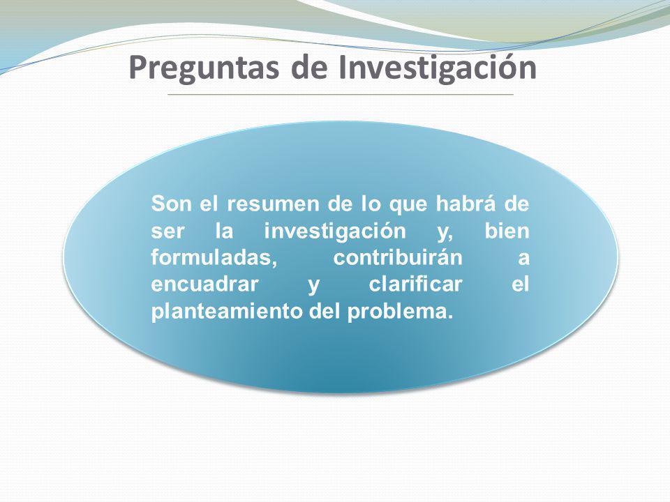 Preguntas de Investigación Son el resumen de lo que habrá de ser la investigación y, bien formuladas, contribuirán a encuadrar y clarificar el plantea