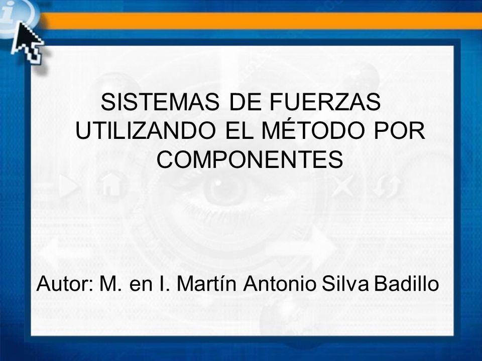 Autor: M. en I. Martín Antonio Silva Badillo SISTEMAS DE FUERZAS UTILIZANDO EL MÉTODO POR COMPONENTES