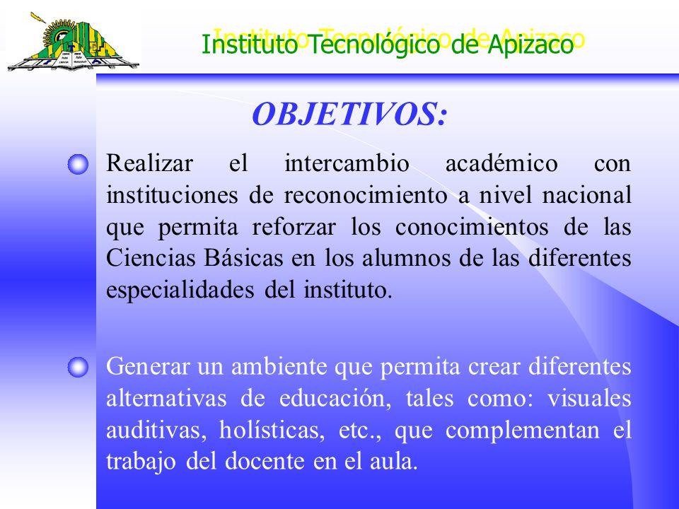 Instituto Tecnológico de Apizaco Generar un ambiente que permita crear diferentes alternativas de educación, tales como: visuales auditivas, holística
