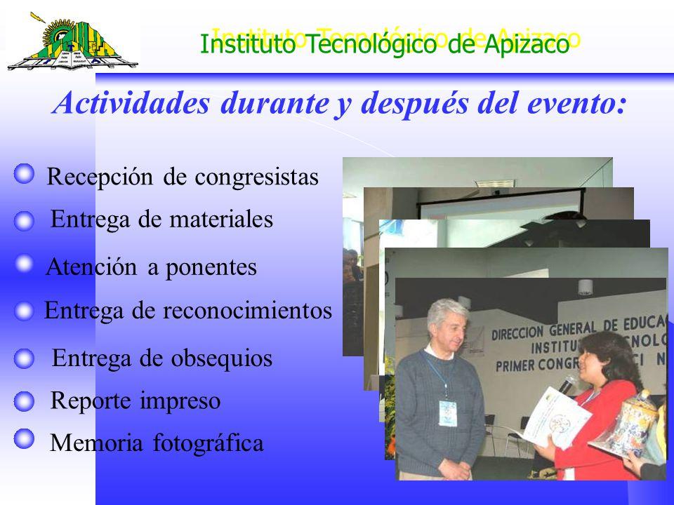 Instituto Tecnológico de Apizaco Memoria fotográfica Reporte impreso Entrega de materiales Recepción de congresistas Atención a ponentes Actividades d