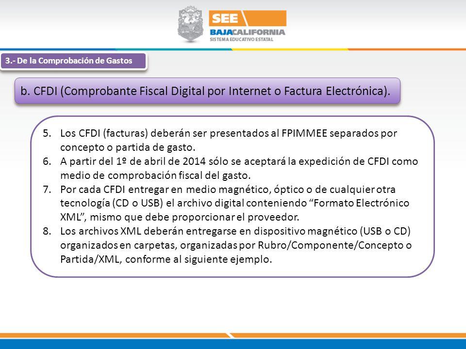 3.- De la Comprobación de Gastos b. CFDI (Comprobante Fiscal Digital por Internet o Factura Electrónica). 5.Los CFDI (facturas) deberán ser presentado
