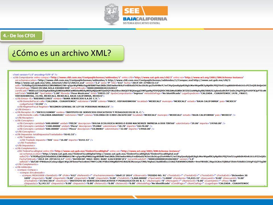 ¿Cómo es un archivo XML? 4.- De los CFDI