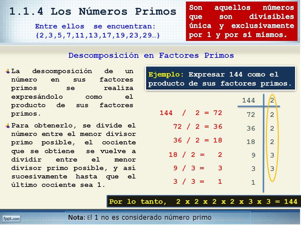 Entre ellos se encuentran: {2,3,5,7,11,13,17,19,23,29…} Nota: E l 1 no es considerado número primo 144 144 / 2 = 72 72 / 2 = 36 36 / 2 = 18 18 / 2 = 2