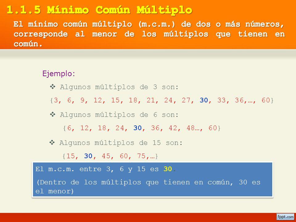 Ejemplo: Algunos múltiplos de 3 son: {3, 6, 9, 12, 15, 18, 21, 24, 27, 30, 33, 36,…, 60} Algunos múltiplos de 6 son: {6, 12, 18, 24, 30, 36, 42, 48…,