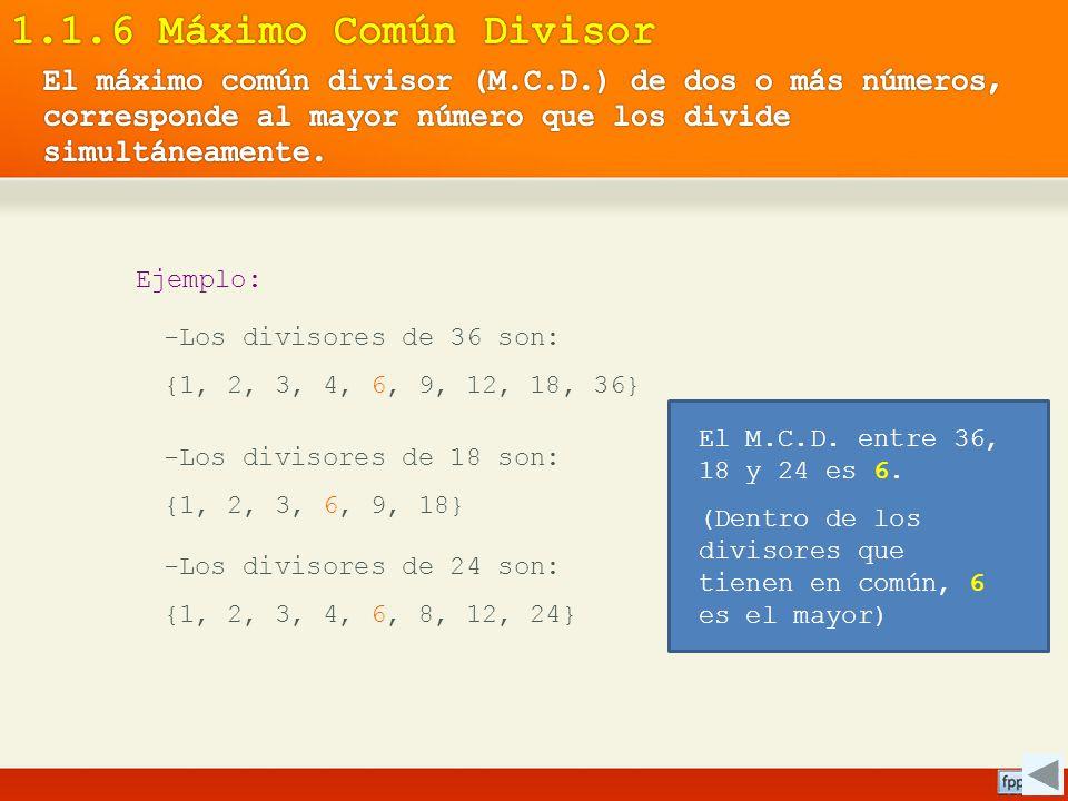 Ejemplo: -Los divisores de 36 son: {1, 2, 3, 4, 6, 9, 12, 18, 36} -Los divisores de 18 son: {1, 2, 3, 6, 9, 18} -Los divisores de 24 son: {1, 2, 3, 4,
