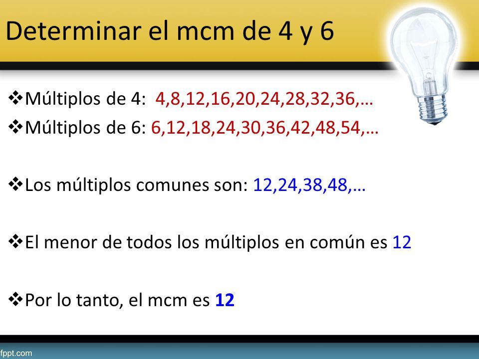 Determinar el mcm de 4 y 6 Múltiplos de 4: 4,8,12,16,20,24,28,32,36,… Múltiplos de 6: 6,12,18,24,30,36,42,48,54,… Los múltiplos comunes son: 12,24,38,