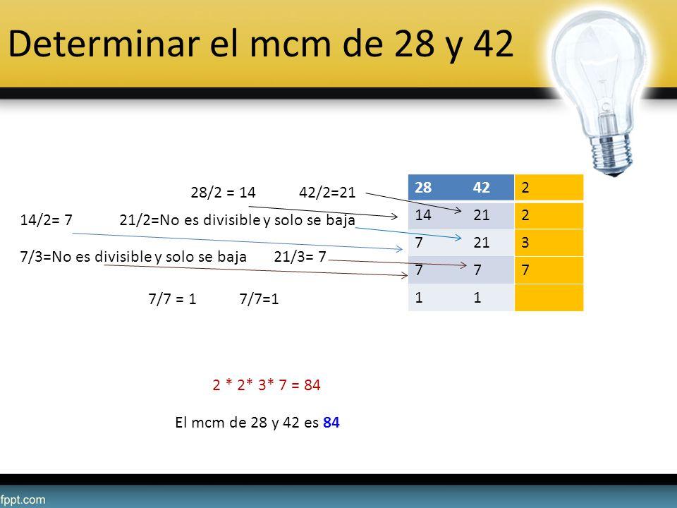 Determinar el mcm de 28 y 42 28422 14212 7 3 777 11 28/2 = 14 42/2=21 14/2= 7 21/2=No es divisible y solo se baja 7/3=No es divisible y solo se baja 2