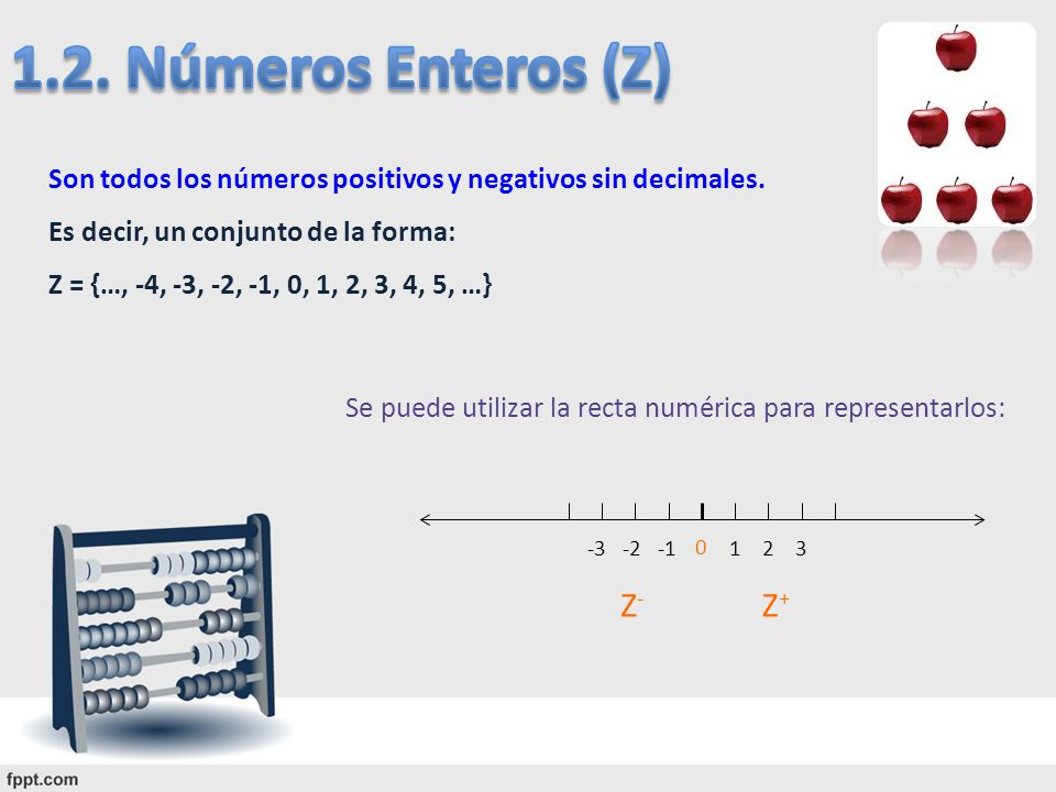 Son todos los números positivos y negativos sin decimales. Es decir, un conjunto de la forma: Z = {…, -4, -3, -2, -1, 0, 1, 2, 3, 4, 5, …} Se puede ut