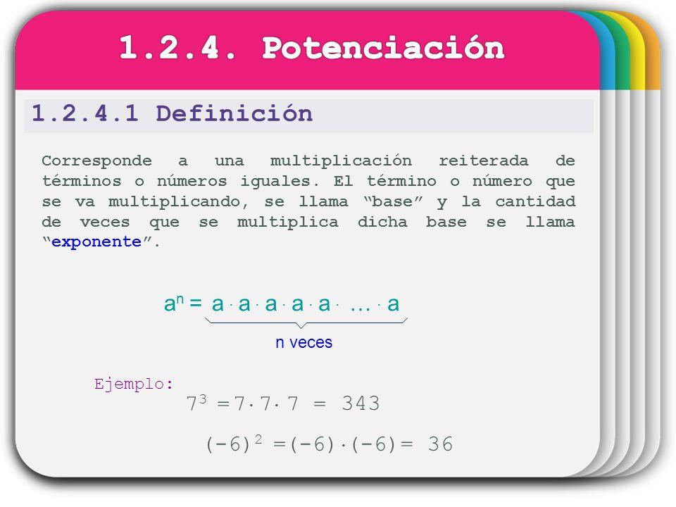 1.2.4.1 Definición Corresponde a una multiplicación reiterada de términos o números iguales. El término o número que se va multiplicando, se llama bas