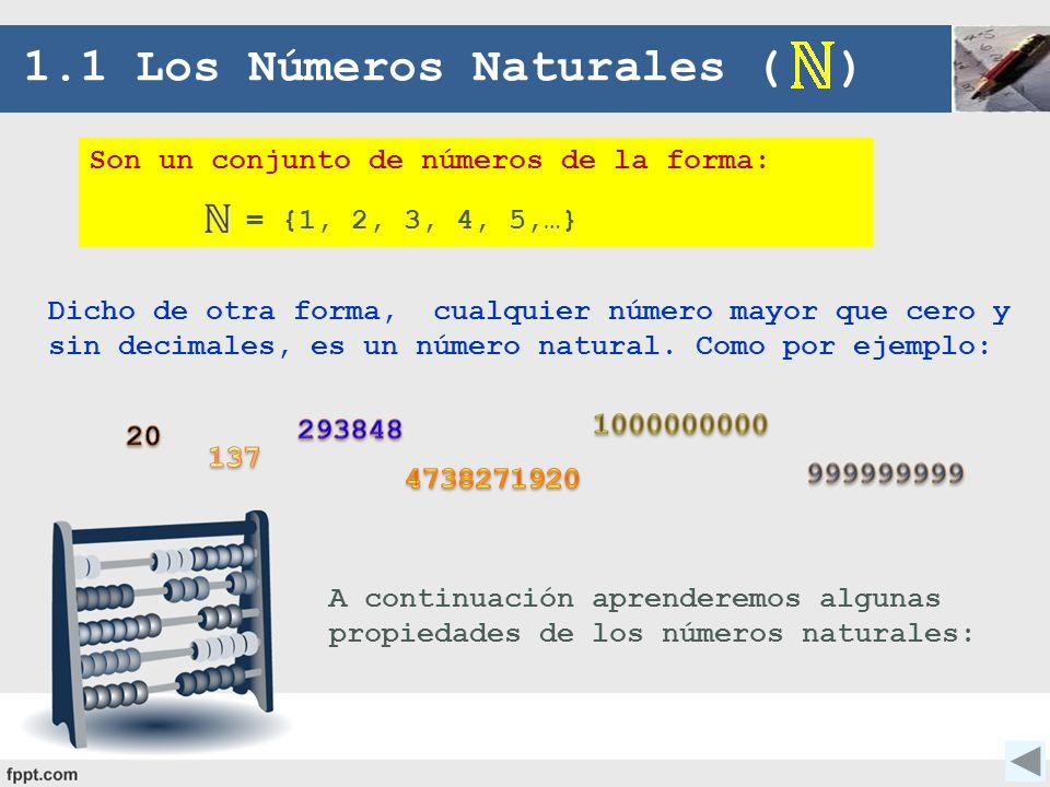 Son un conjunto de números de la forma: = {1, 2, 3, 4, 5,…} 1.1 Los Números Naturales ( ) Dicho de otra forma, cualquier número mayor que cero y sin d