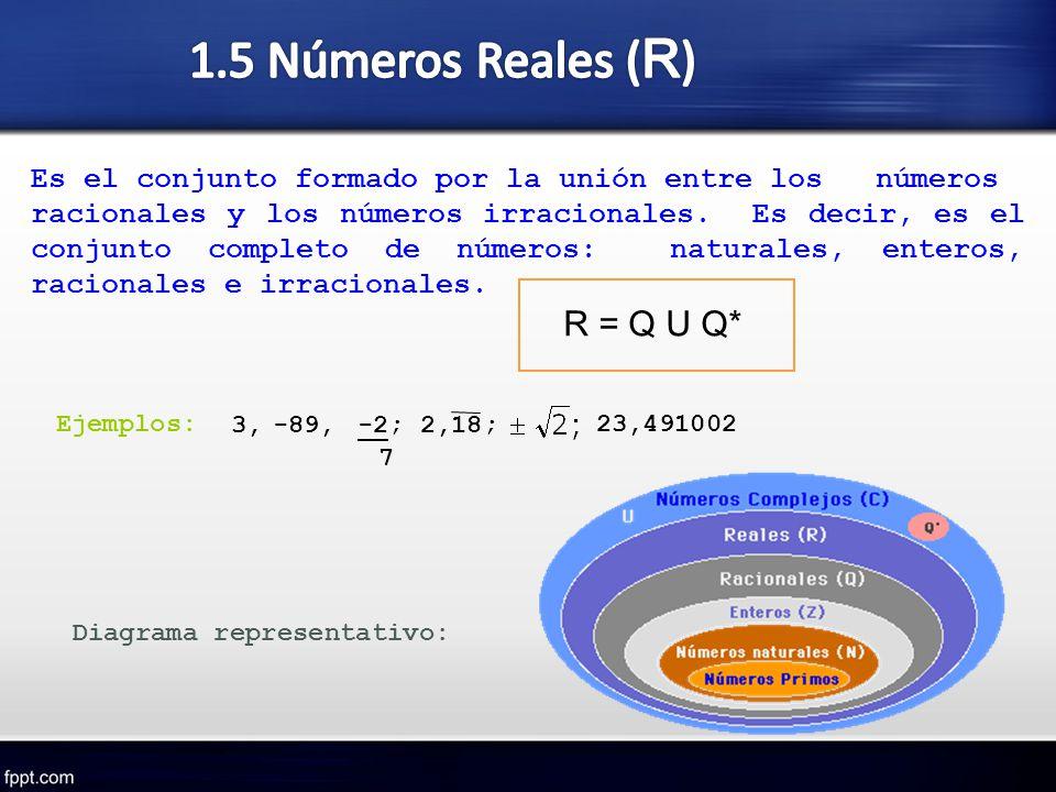 Es el conjunto formado por la unión entre los números racionales y los números irracionales. Es decir, es el conjunto completo de números: naturales,