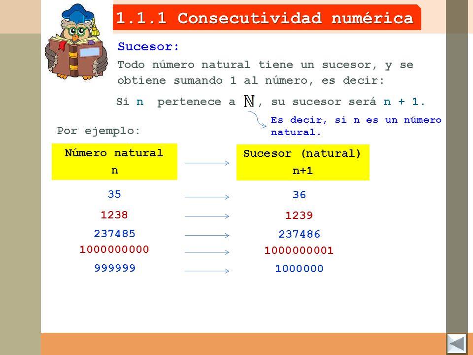 1.1.1 Consecutividad numérica Todo número natural tiene un sucesor, y se obtiene sumando 1 al número, es decir: Sucesor: Si n pertenece a, su sucesor