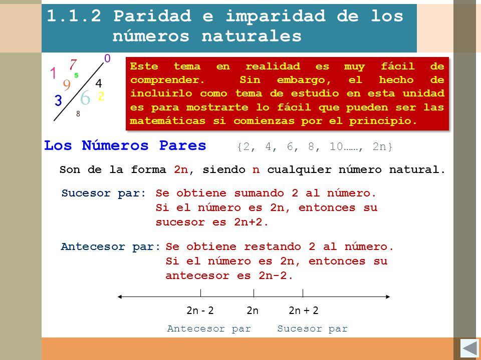 1.1.2 Paridad e imparidad de los números naturales Los Números Pares {2, 4, 6, 8, 10……, 2n} Son de la forma 2n, siendo n cualquier número natural. Suc