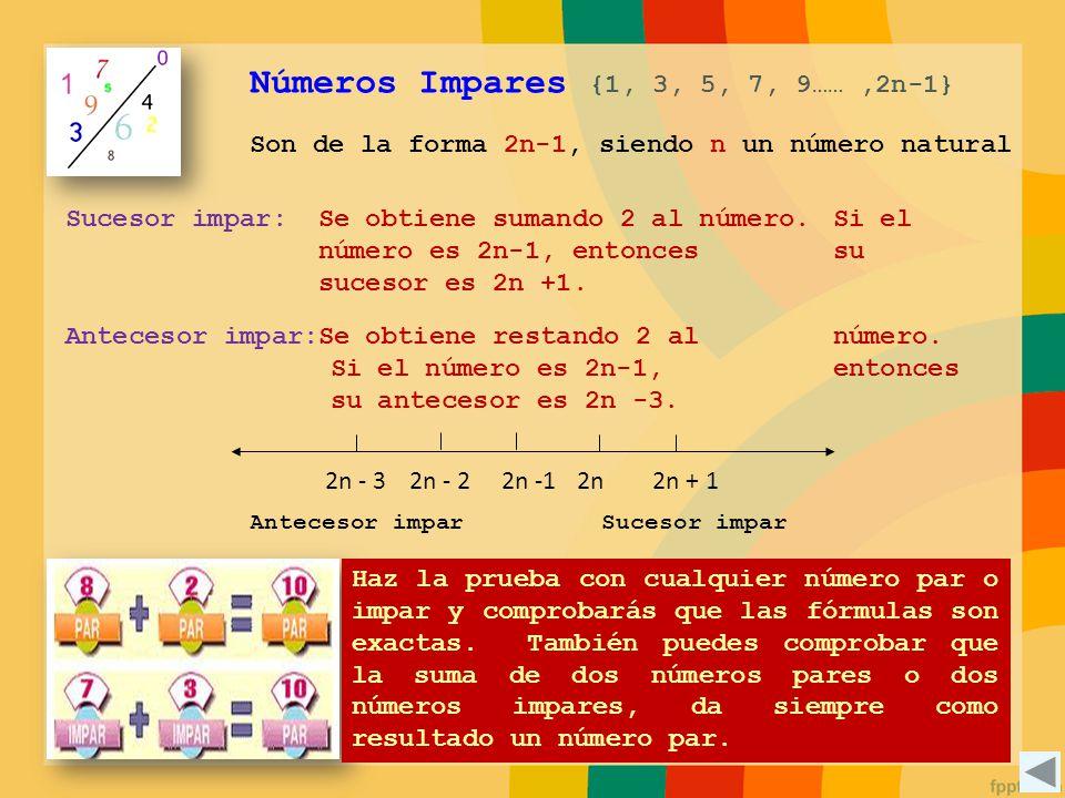 Son de la forma 2n-1, siendo n un número natural Números Impares {1, 3, 5, 7, 9……,2n-1} Se obtiene sumando 2 al número. Si el número es 2n-1, entonces