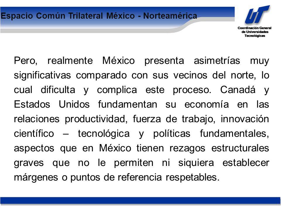 Pero, realmente México presenta asimetrías muy significativas comparado con sus vecinos del norte, lo cual dificulta y complica este proceso.