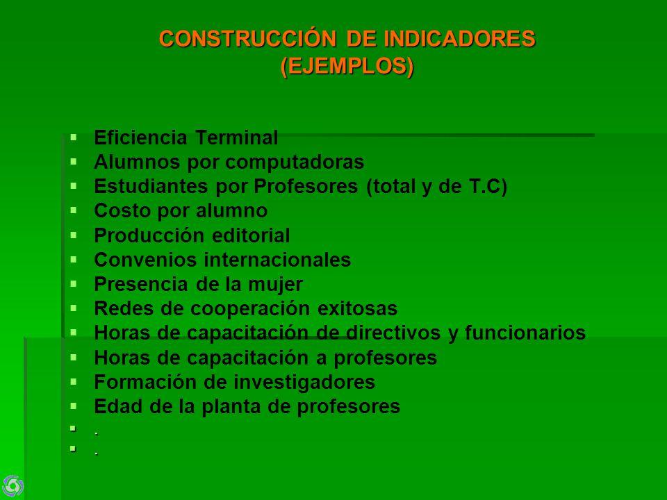 CONSTRUCCIÓN DE INDICADORES (EJEMPLOS) Eficiencia Terminal Alumnos por computadoras Estudiantes por Profesores (total y de T.C) Costo por alumno Produ