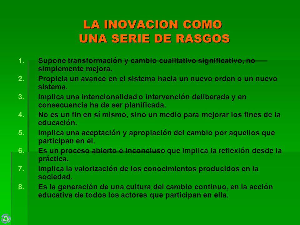 LA INOVACION COMO UNA SERIE DE RASGOS 1.