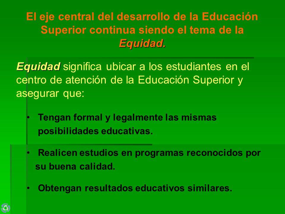 Equidad. El eje central del desarrollo de la Educación Superior continua siendo el tema de la Equidad. Tengan formal y legalmente las mismas posibilid